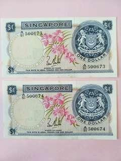 1 Pair RUN Singapore Orchid Series $1 Note