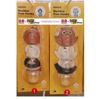 Miniso - Gantungan We Bare Bears Residue Free Hooks 4 Pack