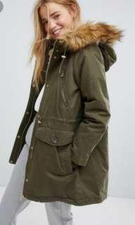 🚚 Pull and Bear Army Green Fall Autumn Winter Parka Coat