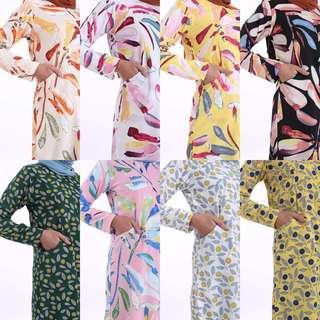 FERE PRINTED TOP baju peplum blouse dress ferra instant tudung shawl scarf bawal sales jubah jubbah kurung