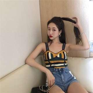 Vintage style Korean knitted top