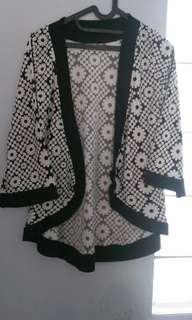 Flower Black and White Outerwear