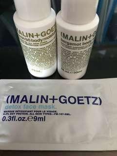 MALIN+GOETZ body wash, moisturizer & detox face mask