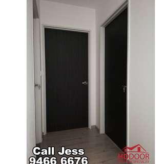 HDDoor the Laminate full soild wooden Bedroom door with lever handle lock install