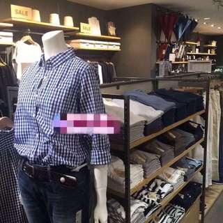 MUJI 無印良品 有機棉平織短袖格紋襯衫 S 全新