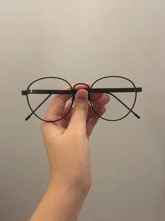 Black framed glasses