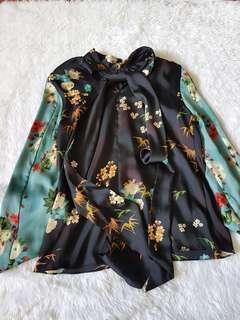 NEW Zara Pussybow Silk Top