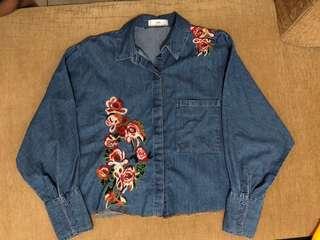 Zara Denim Floral Jacket
