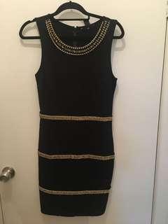 H&M Black & Gold Dress Size M