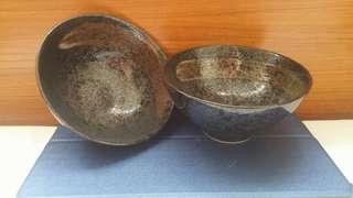 日本制 黑砂金雲飯碗一對