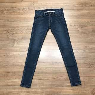 正韓 厚刷毛藍色牛仔褲