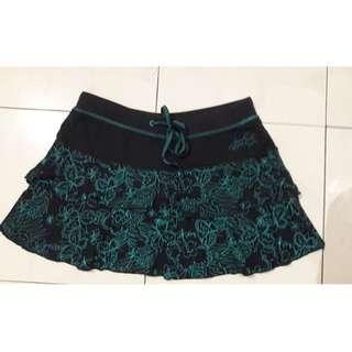 SAMUEL & KEVIN Dark Green Flair Mini Skirt