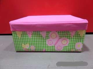 粉紅色 蝴蝶圖案 摺合式 收納盒