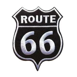 Route 66 Highway Black Iron On Patch