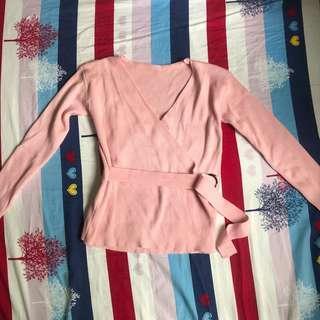 粉紅針織綁帶上衣/外套 Pink Top