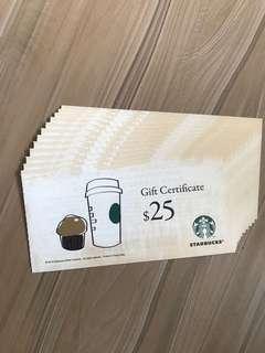 星巴克 禮券 $300 Starbucks Gift Certificate