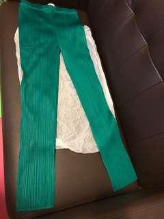 Pleats Please Issey Miyake green trousers