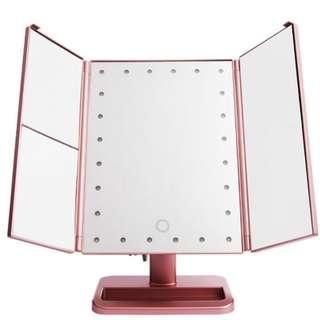 Diskon 11-11 24LED 3WAY FOLDABLE STANDING MIRROR - ROSE GOLD