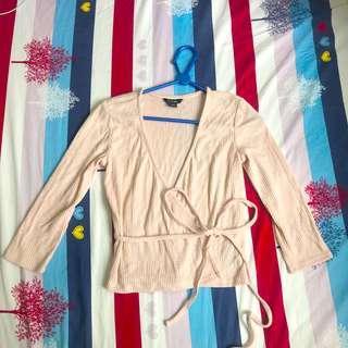 Monki 淺粉紅針織綁帶上衣外套 Pale pink tie top
