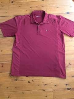 Men's Nike dry fit polo top burgundy XL