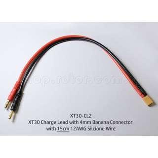 XT30 Charge Lead with 4mm Banana Connector with 15cm 12AWG Silicone Wire. Code: XT30-CL2