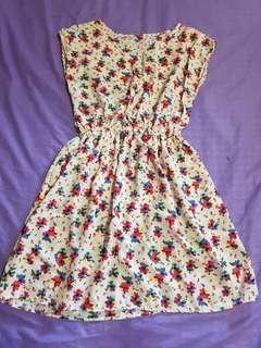 Cap-sleeved Floral Dress