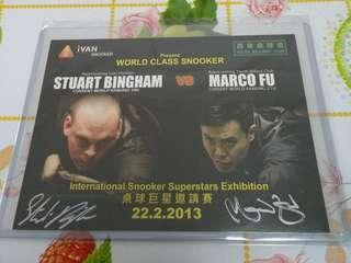 2013年冰咸/Marco Fu香港比赛親筆簽名咭卡,票,卷,券,飛