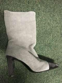 SALE! Grey suede with satin toe cap bootees