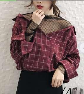 Plaid Shirt With Mesh Detailing