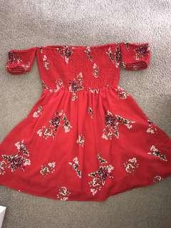 Summer bardot mini dress