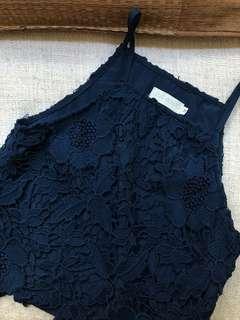 Love Bonito LB Navy Lace Crop Top