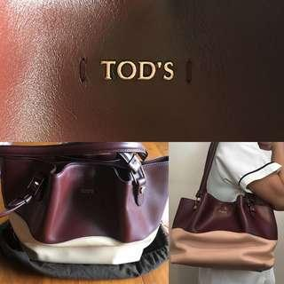 Tod's burgundy and leather small flower bag