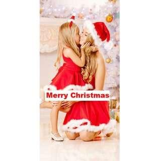 Mummy and Daughter Christmas Red Dress