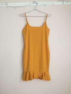 Yellow Wrap Style Mini Dress