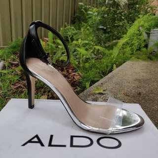 ALDO Heels Clear Black Stappy Size 6 AU BNIB