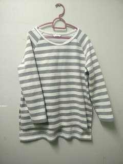 Padini Top Stripe in Grey