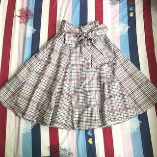 英倫風學院風格仔蝴蝶半截裙  Checkered Bow Skirt