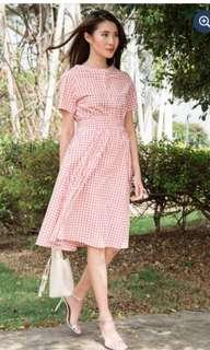 BNWT Le Chic Picnic Playdate Midi Gingham Dress