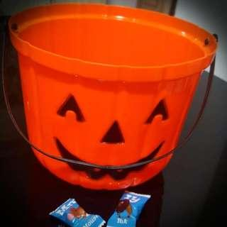 Baby/ Kids Halloween Party Gift/ Present - Jack-O'-Lantern Pumpkin Big Bucket/ Box/ Container