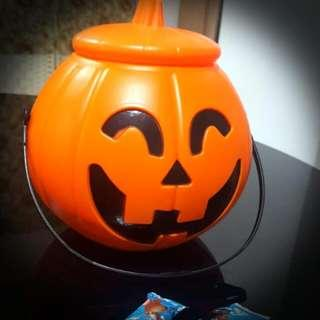 Baby/ Kids Halloween Party Gift/ Present - Jack-O'-Lantern Pumpkin Big Bucket/ Box/ Container with Cover