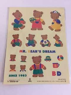 Sanrio vintage Mr bear's Dream club MBD 貼紙 1996