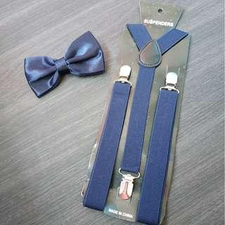 New instock Adult Navy blue suspenders and bowtie set both $9