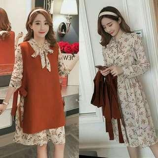 🍃2in1 Formal Elegant Floral Orange Dress