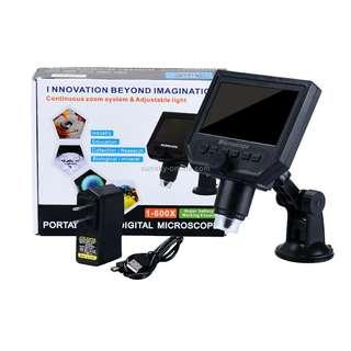 G600 600X 3.6MP 4.3 inch HD LCD Display USB Charging Portable Digital Microscope with LED Light, Support Micro SD Card(64GB Max), US Plug, AC 100-240V