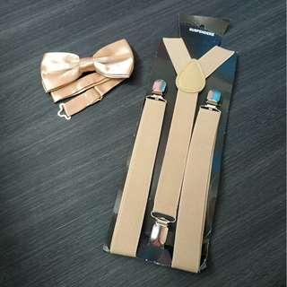 New instock adult Khaki suspenders and bowtie set both $9