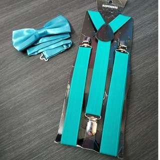 New Instock adult Turqouise suspenders and bowtie set both $9