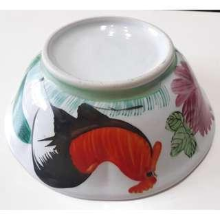 Rooster design hand painted  octagon curve porcelain rice bowls