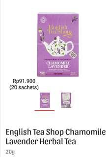 English Tea Shop Chamomile Lavender Herbal Tea (20sachets)
