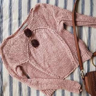 European label crochet knit pink jumper
