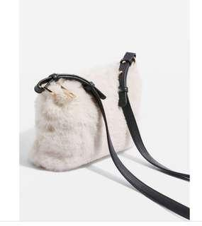 Topshop Rupert faux fur crossbody bag with black leather strap